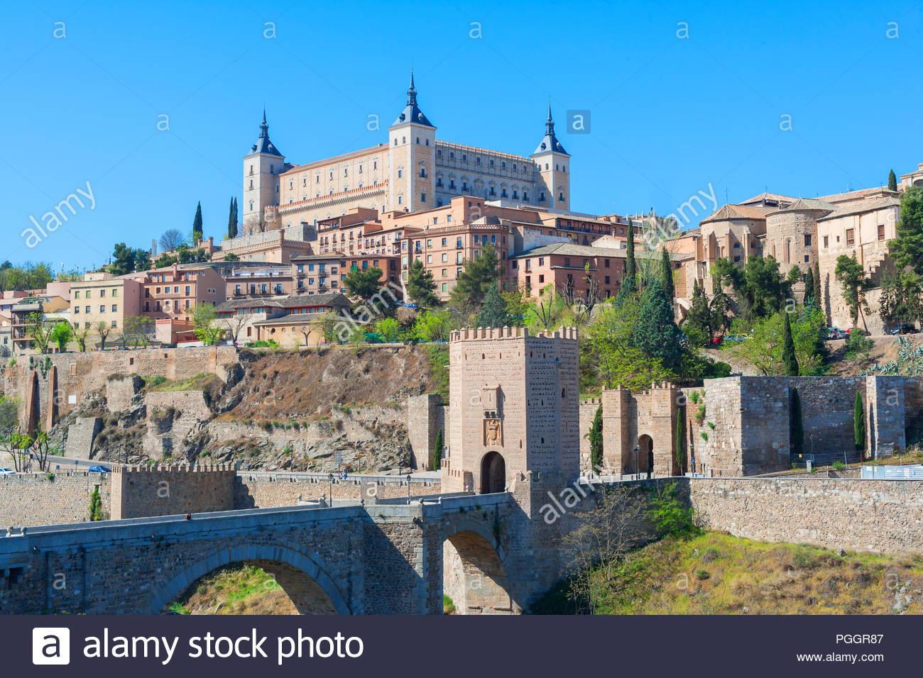 Toledo Province; Bridge - Man Made Structure; Castle; Spain; House; Scenics; Architecture; Blue; Built Structure; Castilla La Mancha; Cityscape; Color - Stock Image