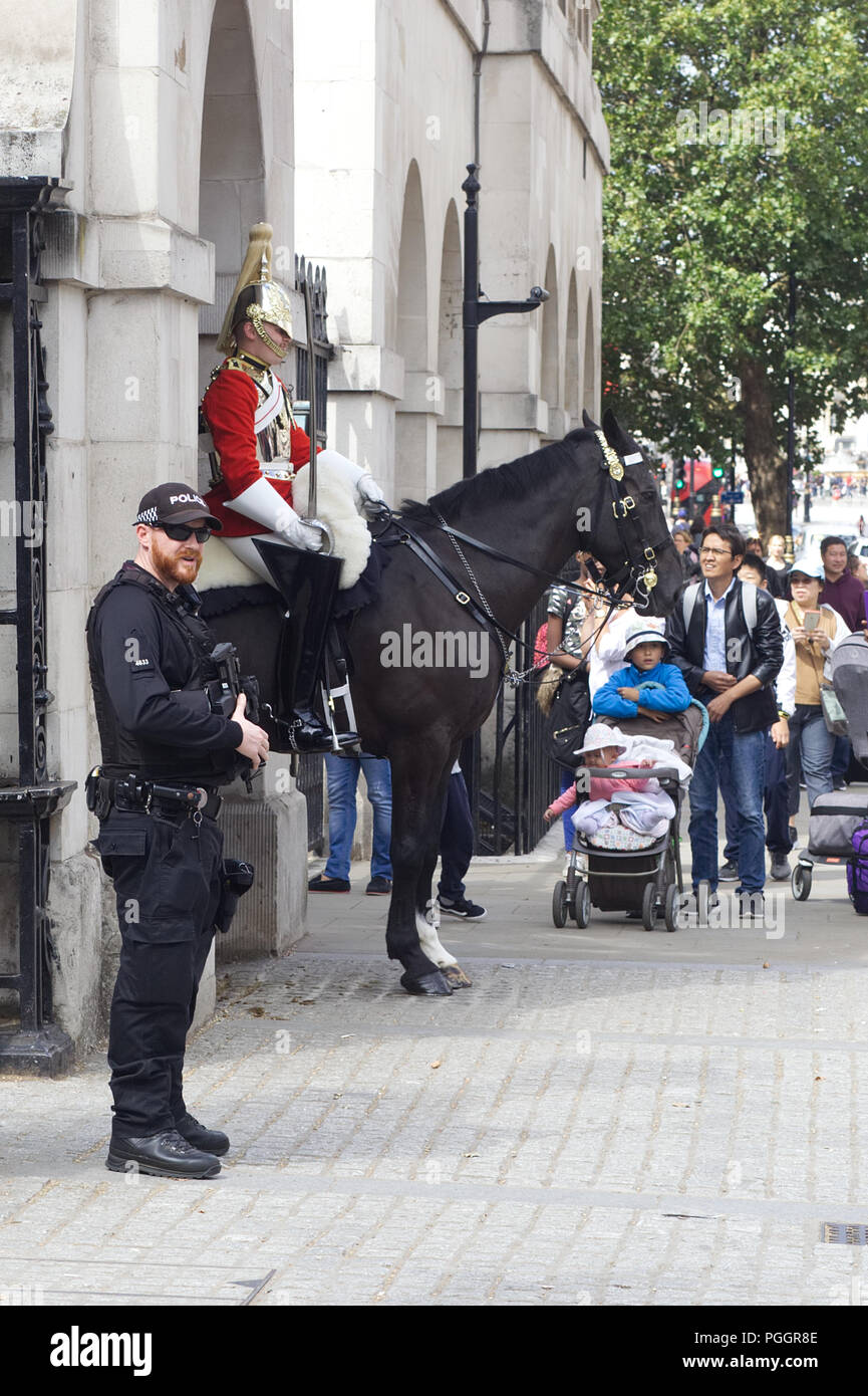 Armed police guarding the sentries at horse guards Stock Photo