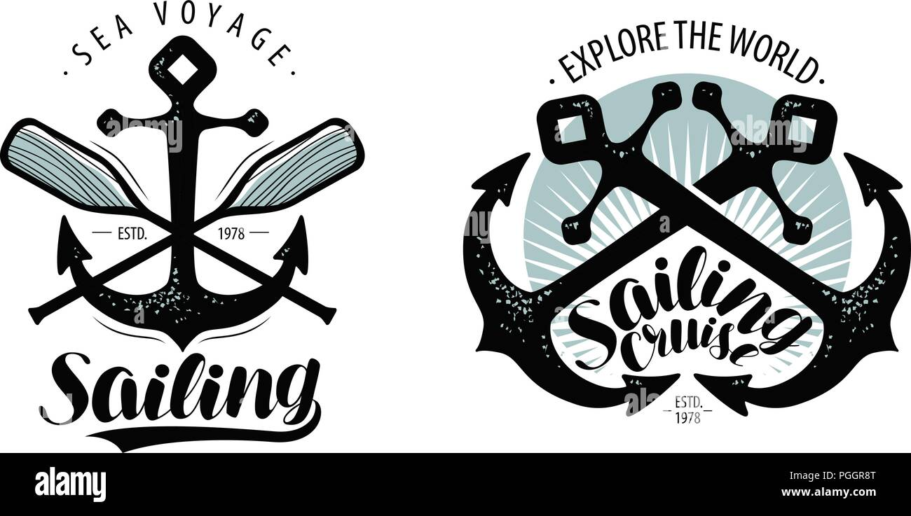 Sailing, cruise logo or label. Seafaring concept. Typographic design vector - Stock Image