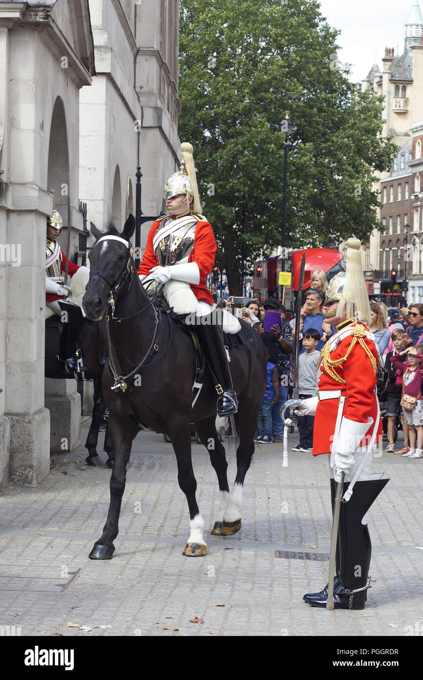 changing of the sentries at horseguards Stock Photo