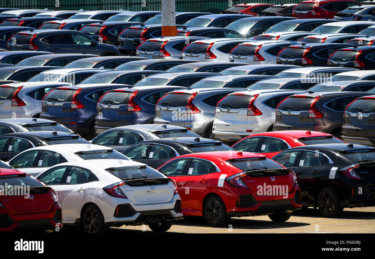 Hundreds Of Honda Cars And Suvs Awaiting Export Sat In Holding Areas