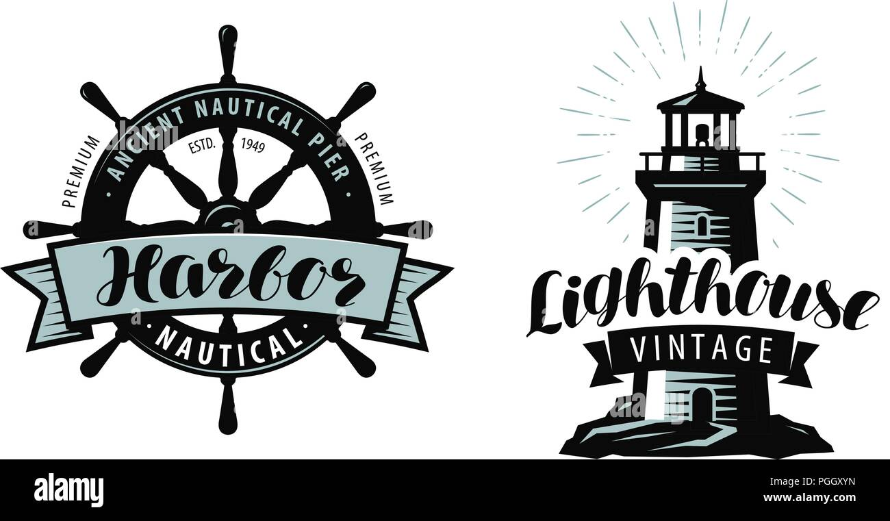 Lighthouse, sea pier, harbour logo or label. Nautical concept. Typographic design vector Stock Vector