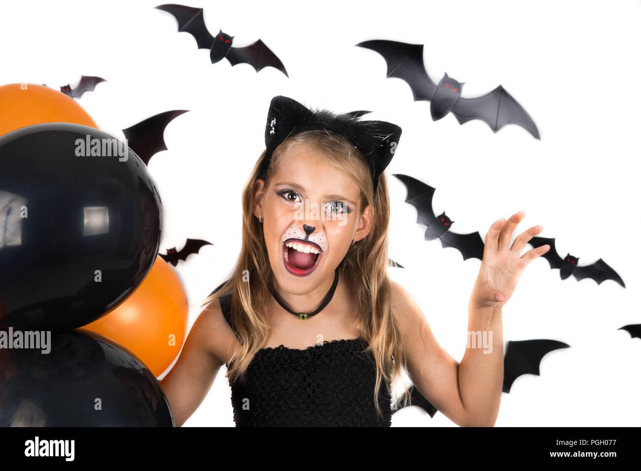 Smiley Girl With Black Cat Costume Halloween Makeup And Black And - Cat-costume-makeup