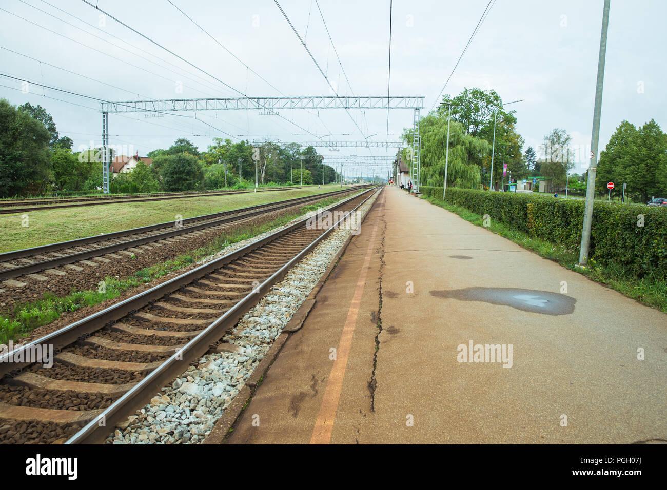 City Salaspils, Latvia. Tran station and iron ways. Urban city view, nature and industry. Travel photo 2018. - Stock Image