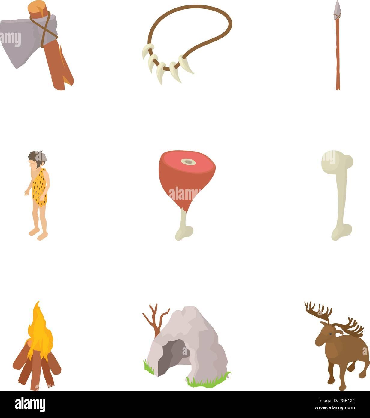 Prehistory icons set, cartoon style - Stock Image