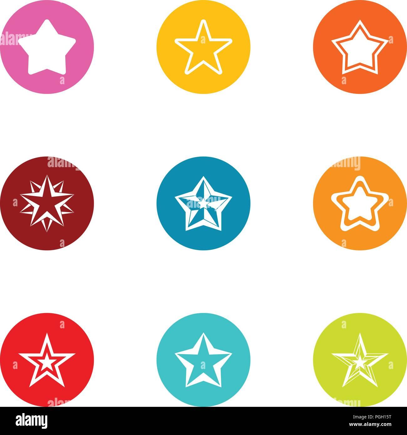 Stellar icons set, flat style - Stock Vector