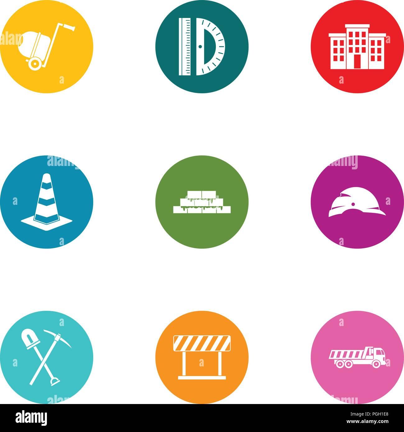 Billet icons set, flat style - Stock Image