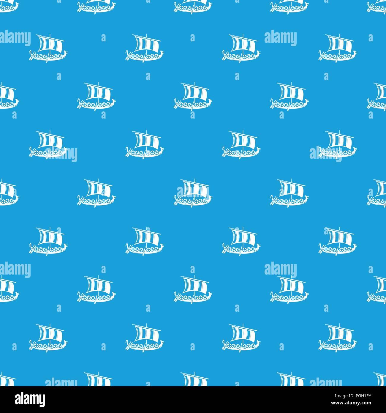 Viking Ship Pattern Vector Seamless Blue
