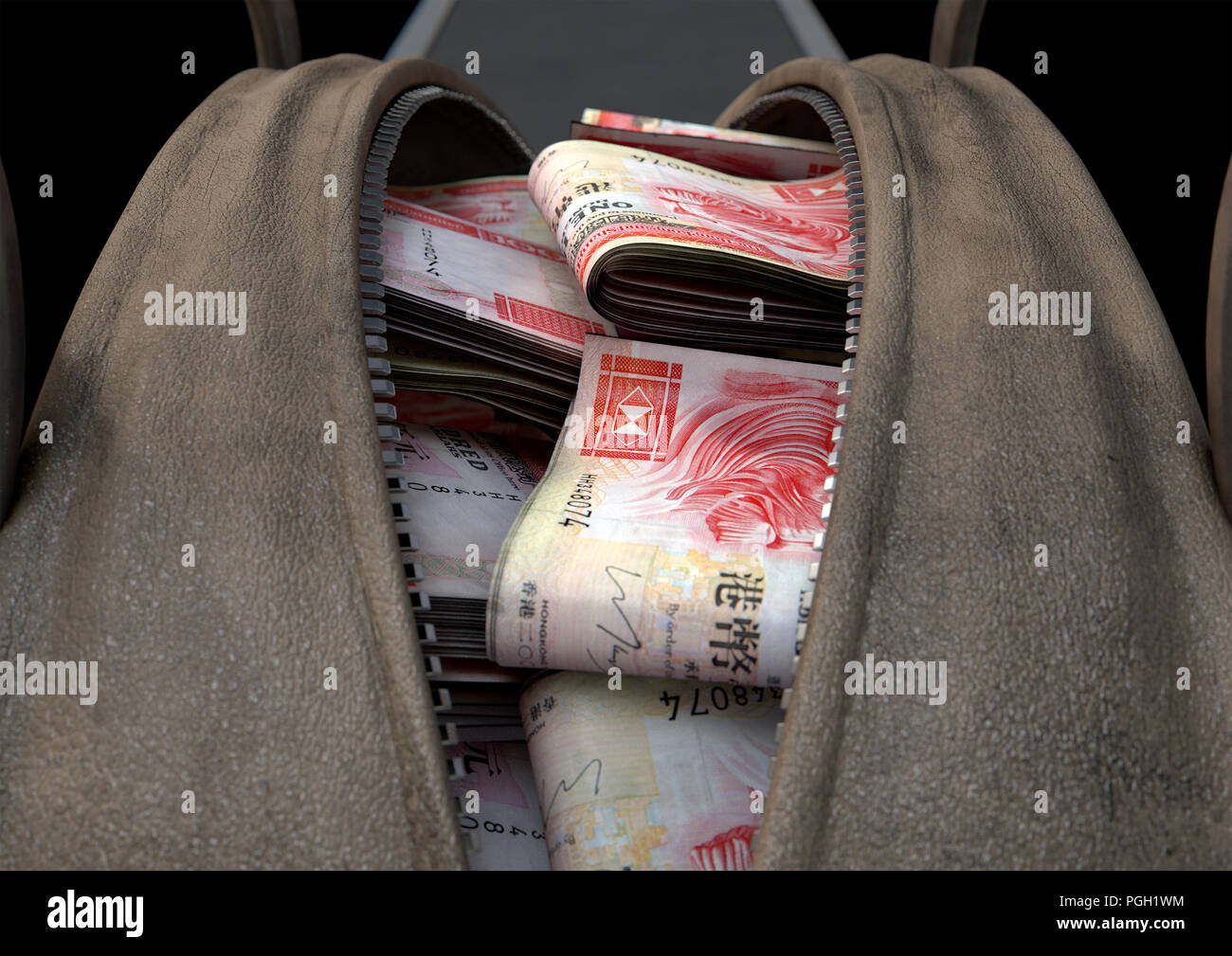 A smuggling concept depicting an open brown leather duffel bag revealing bundles of illicit rolled hong kong dollar notes - 3D render - Stock Image