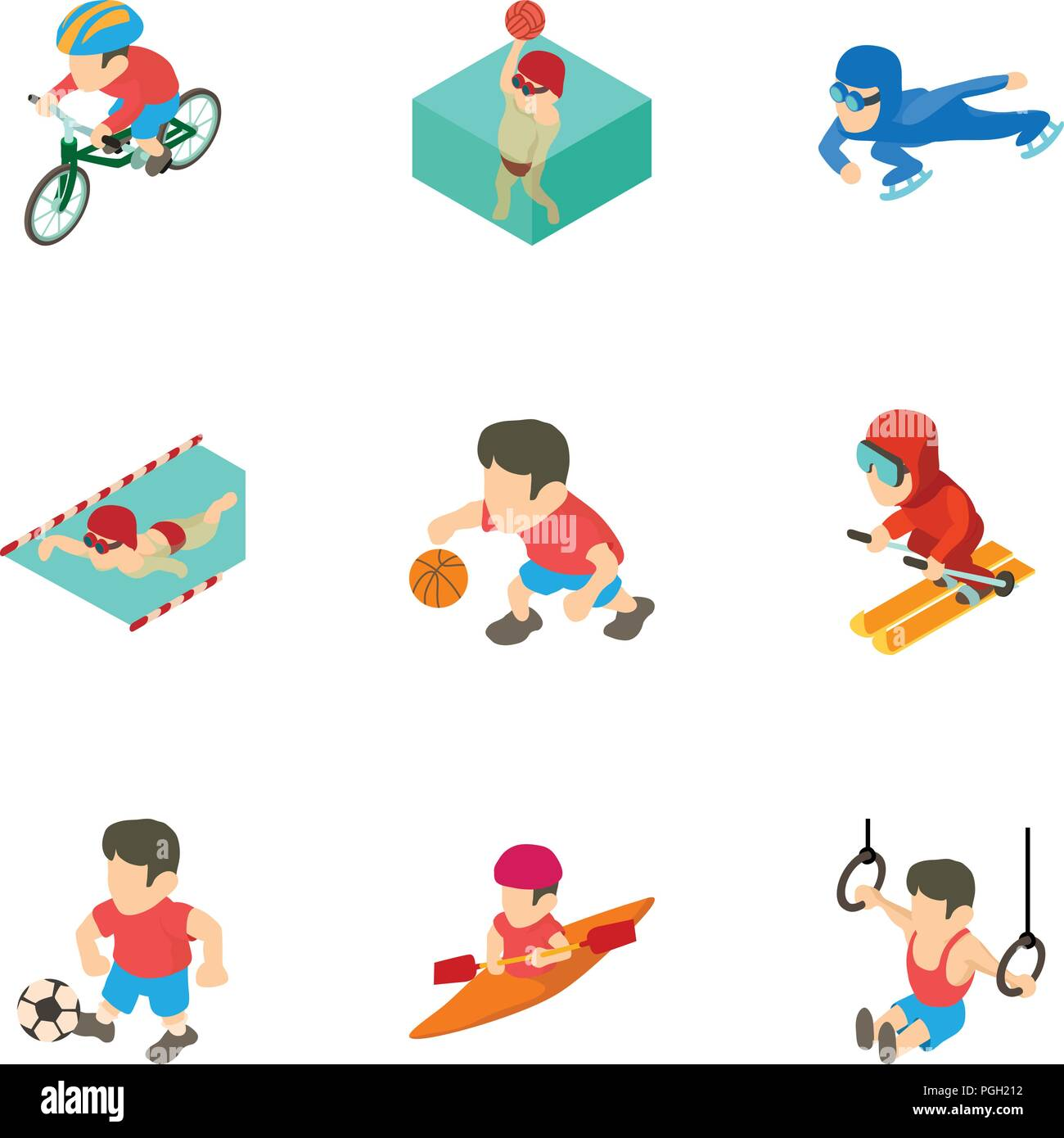 Olympic training icons set, cartoon style - Stock Vector