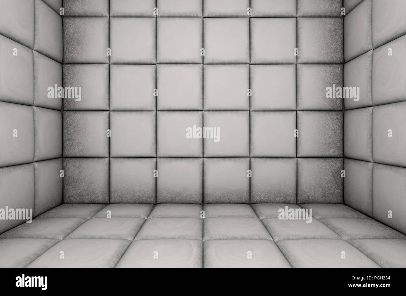An empty white padded cell in a mental hospital - 3D render Stock Photo