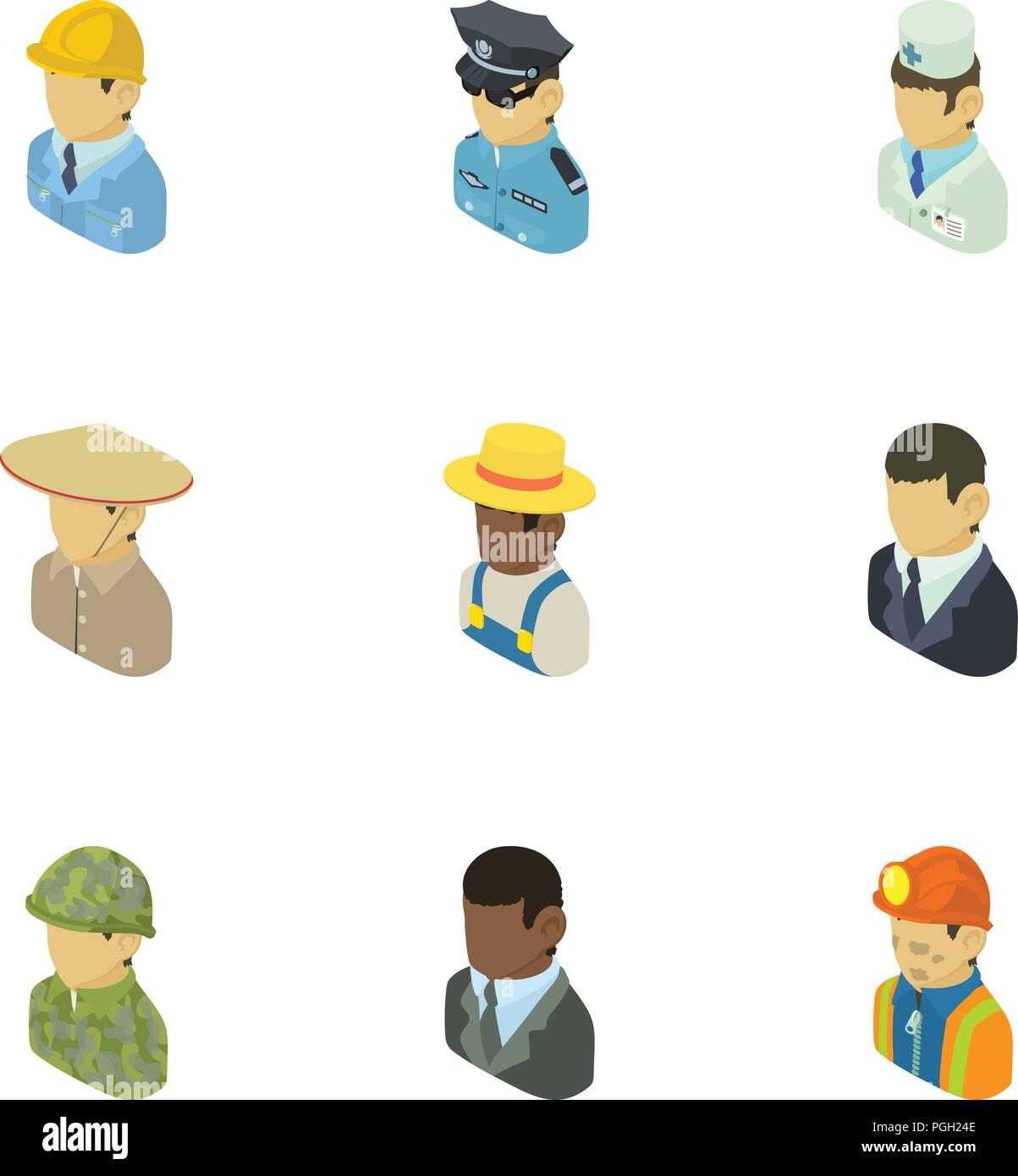 Personage icons set, isometric style - Stock Image