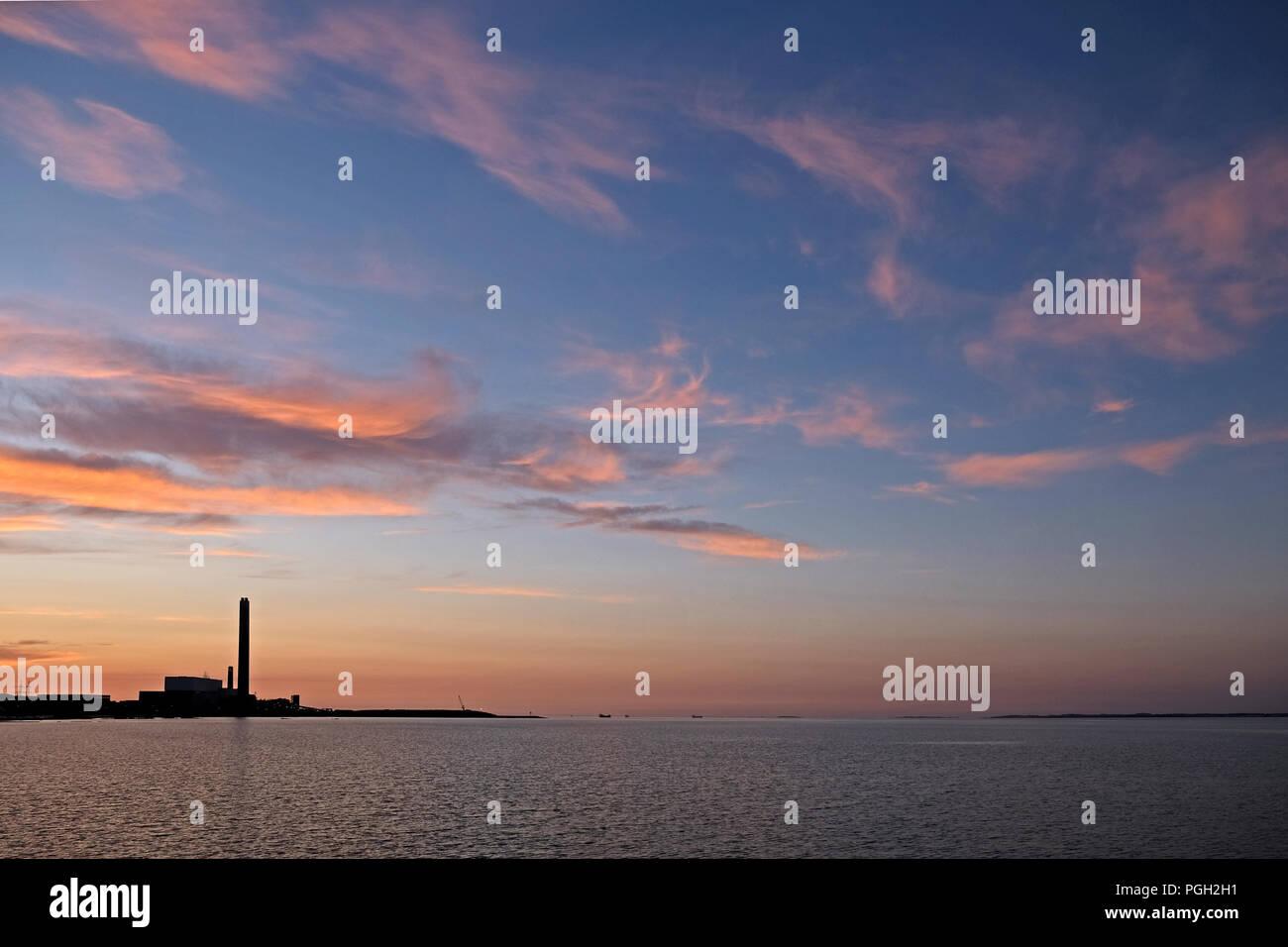 Before sunrise at Kilroot power station on Belfast Lough - Stock Image