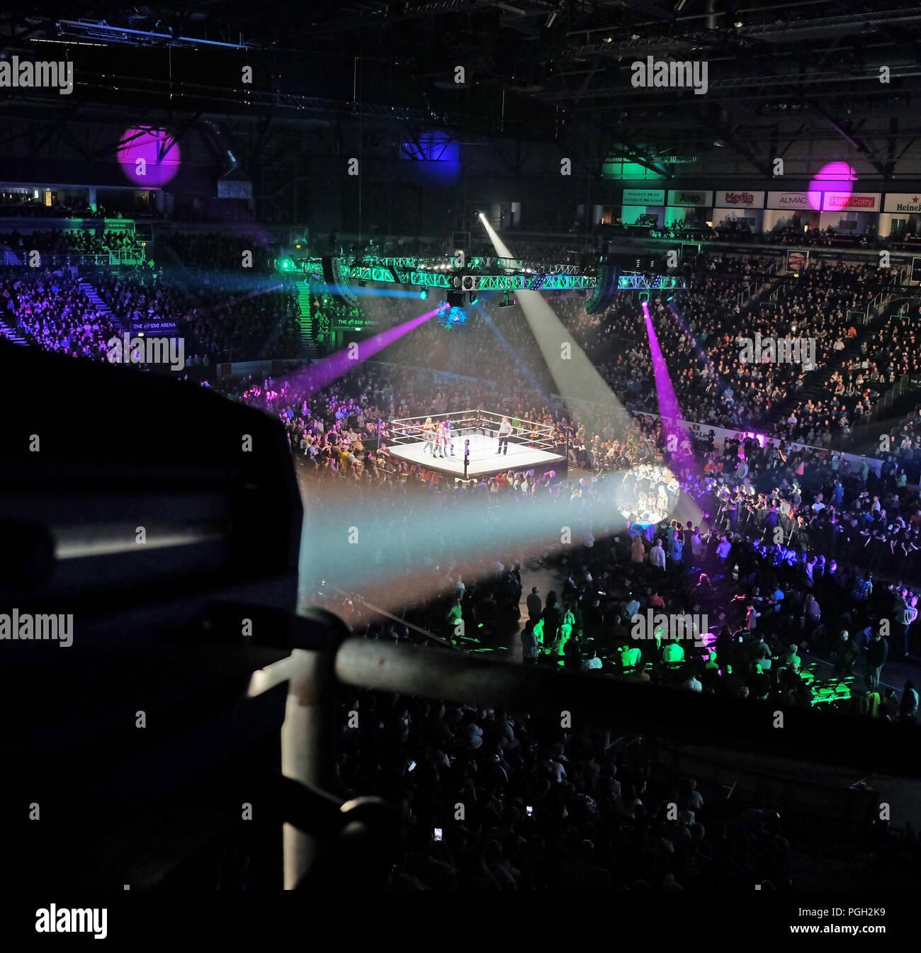 Follow spot operating, SSE Arena, Belfast. - Stock Image