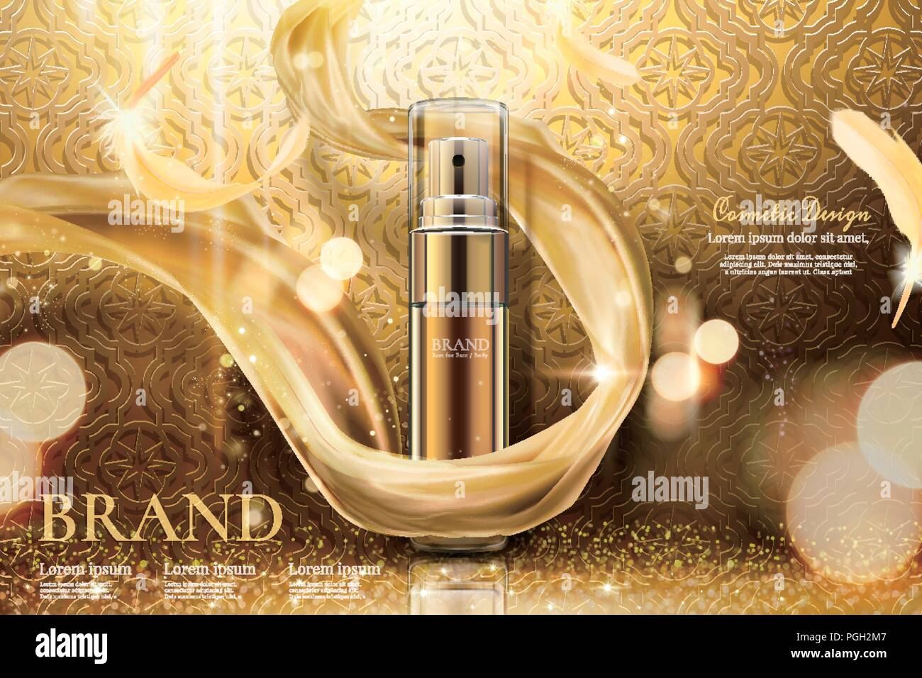 Luxury golden skincare spray with weaving chiffon in 3d illustration, curved background - Stock Vector