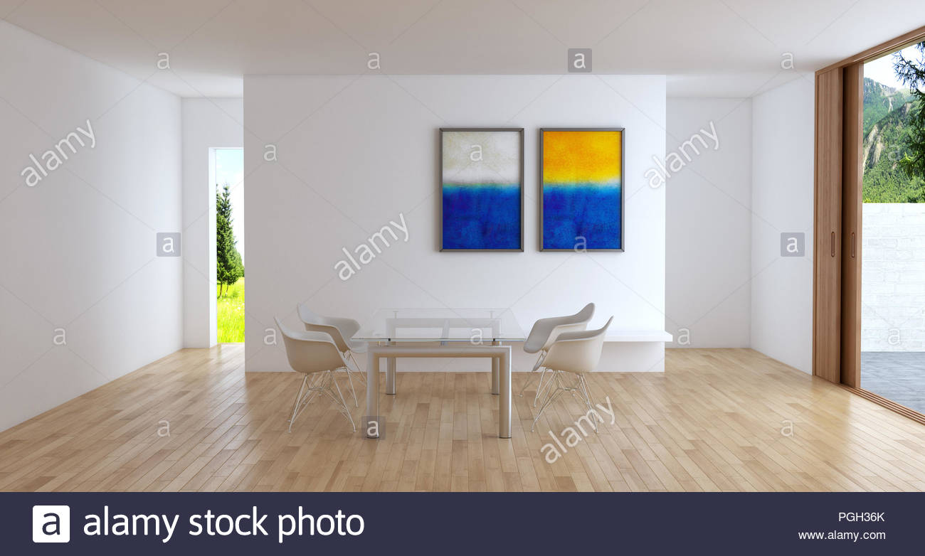 Modern Bright Interiors Apartment Living Room Illustration 3D Rendering  Computer Generated Image   Stock Image