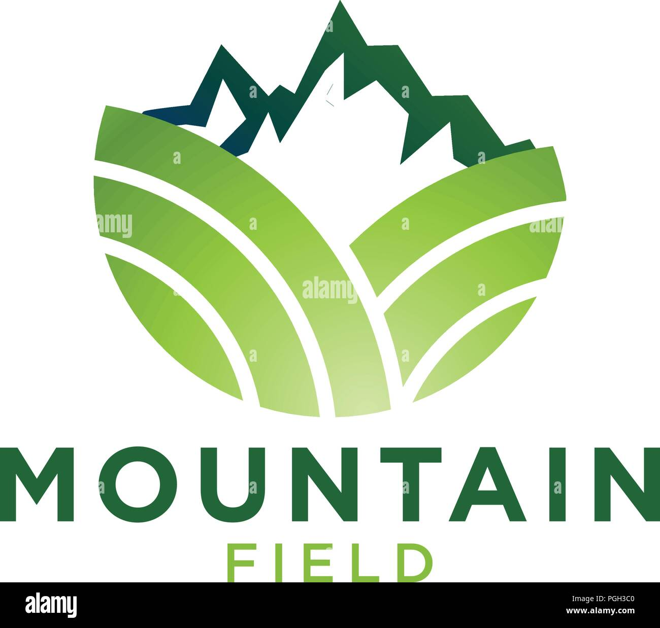 Green mountain and field logo design template - Stock Vector