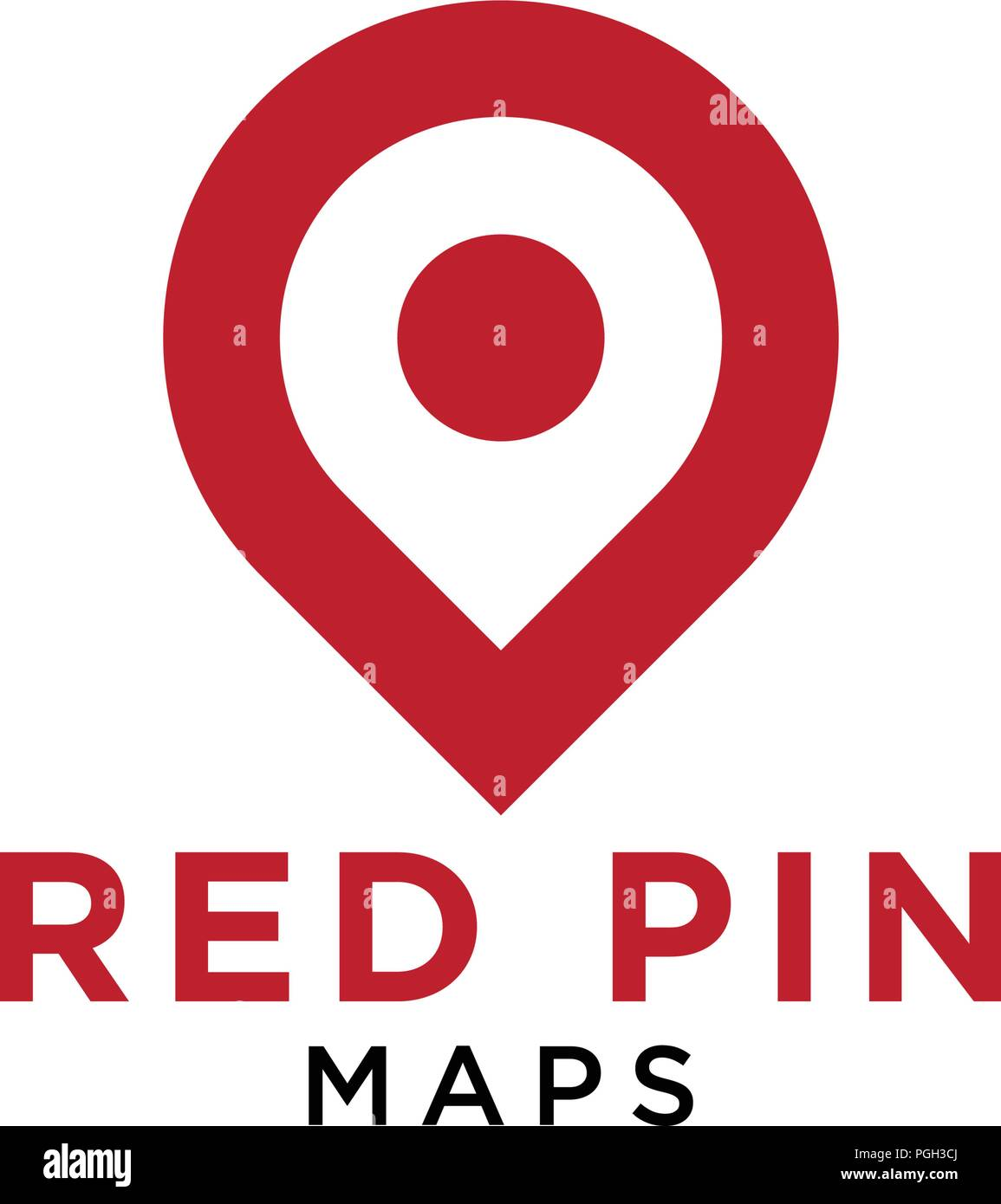 Simple red pin map logo design template vector - Stock Vector