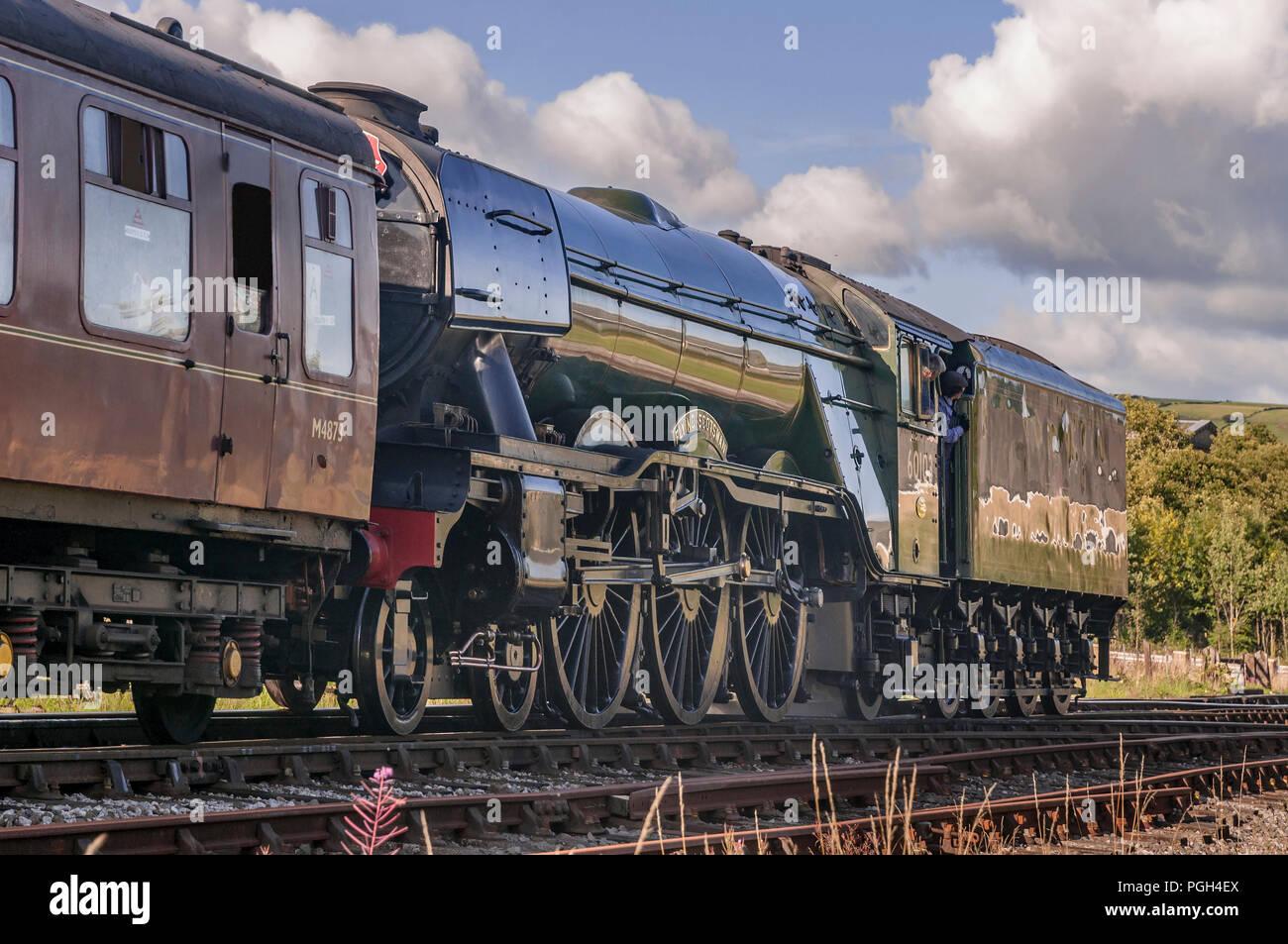 The Flying Scotsman steam locomotive on the East Lancashire Railway. Rawtenstall. - Stock Image