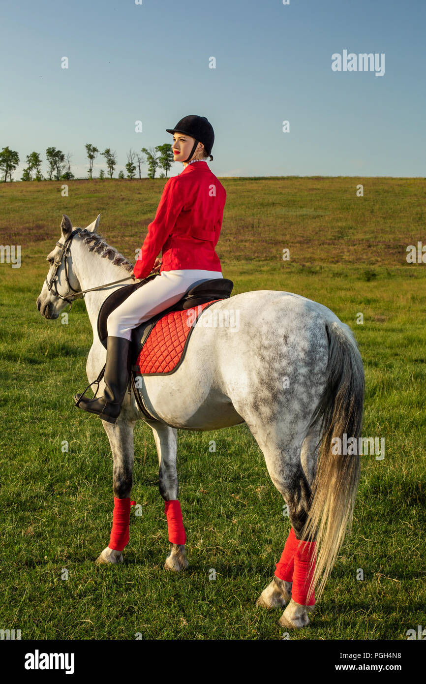 Young woman rider, wearing red redingote and white breeches, with her horse in evening sunset light. Outdoor photography in lifestyle mood - Stock Image