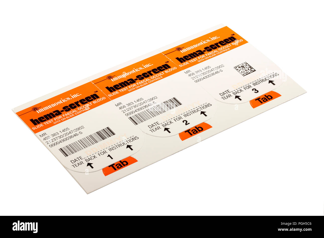immunostics.inc. hema-screen slide for faecal occult blood bowel cancer screening stool sample card sent out by the NHS every two years to over 60 - Stock Image