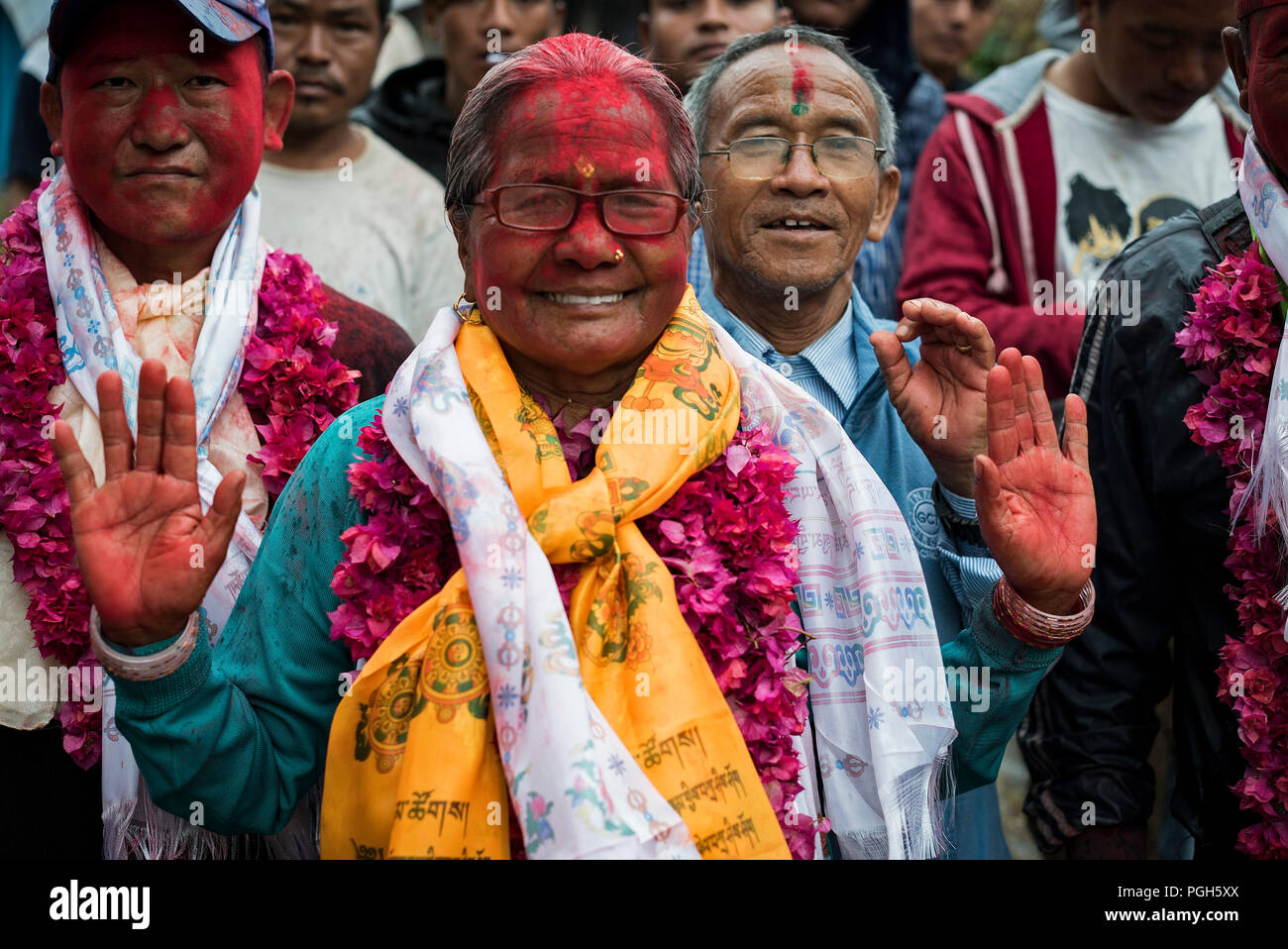 People celebrating elections in  Bandipur. Annapurna trek. Nepal - Stock Image