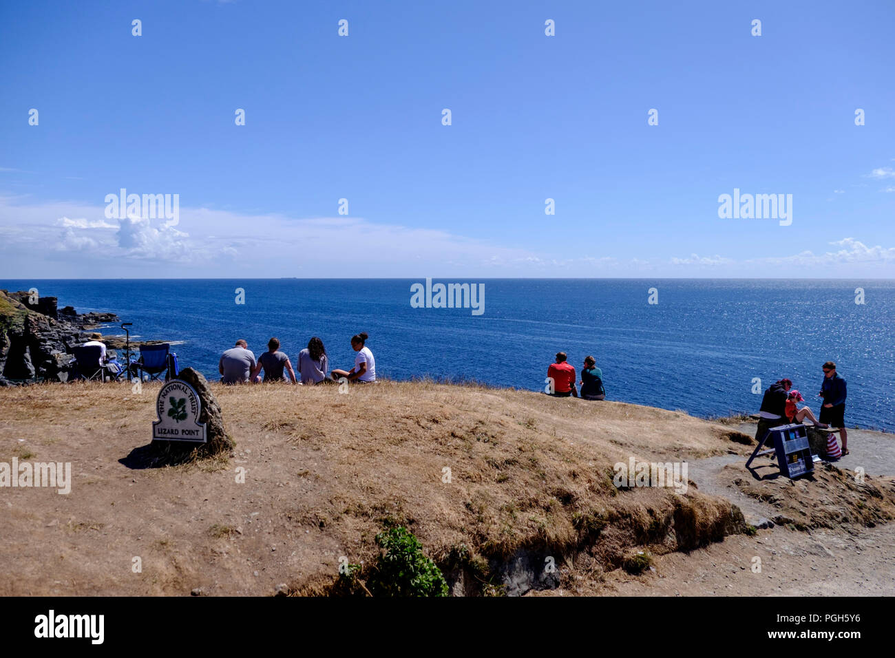 The most southerly point and Polpeor Cove Lizard cornwall England UK - Stock Image