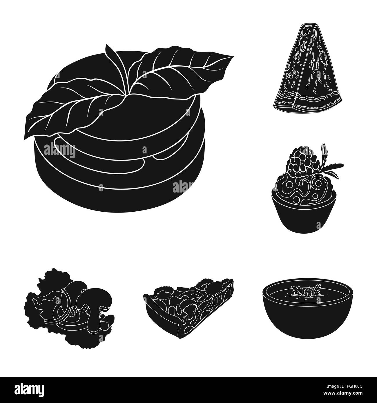Vegetarian dish black icons in set collection for design.Vegetable and milk food vector symbol stock  illustration. - Stock Vector