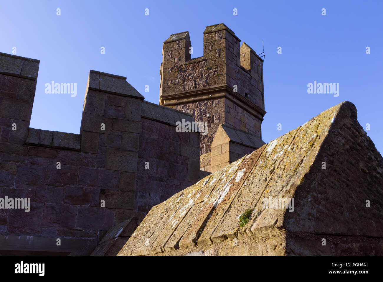 December 2017, North Wales, UK - walls and towers of 13th century Conwy castle, built by Edward I, during his conquest of Wales; it is UNESCO World He Stock Photo