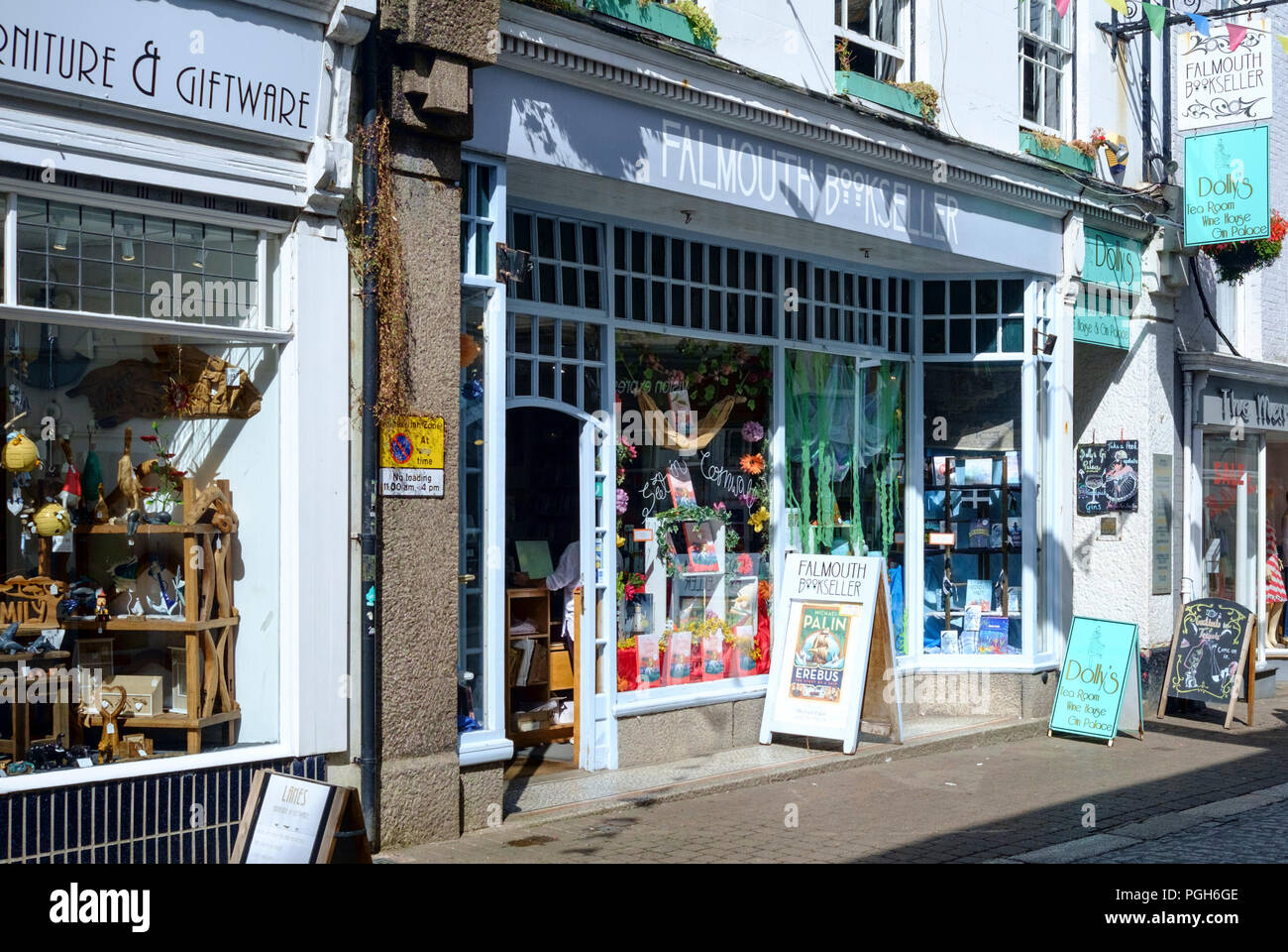 Falmouth a coastal town and Port in Cornwall England UK The Falmouth Bookseller - Stock Image