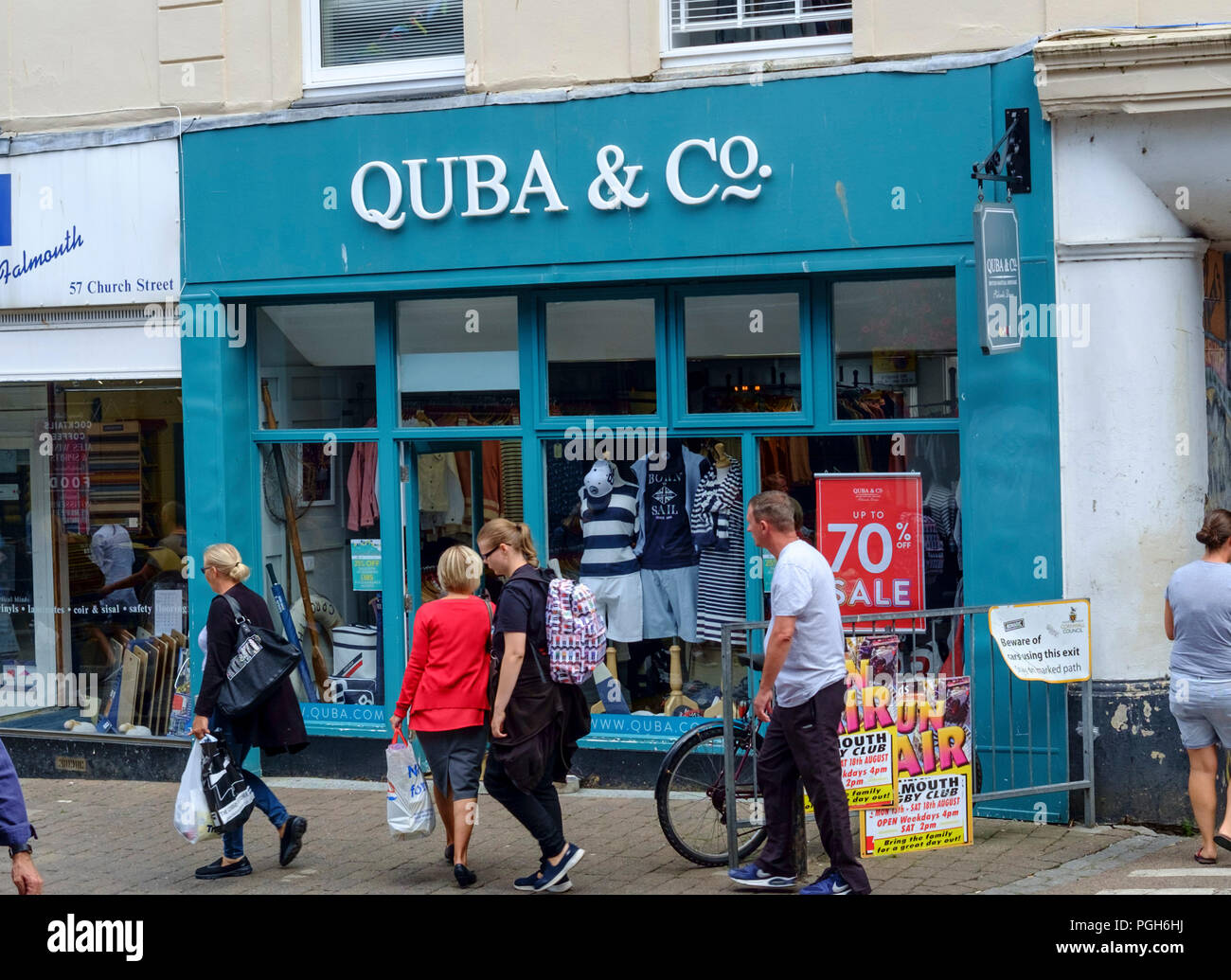 Falmouth a coastal town and Port in Cornwall England UK Quba shop - Stock Image