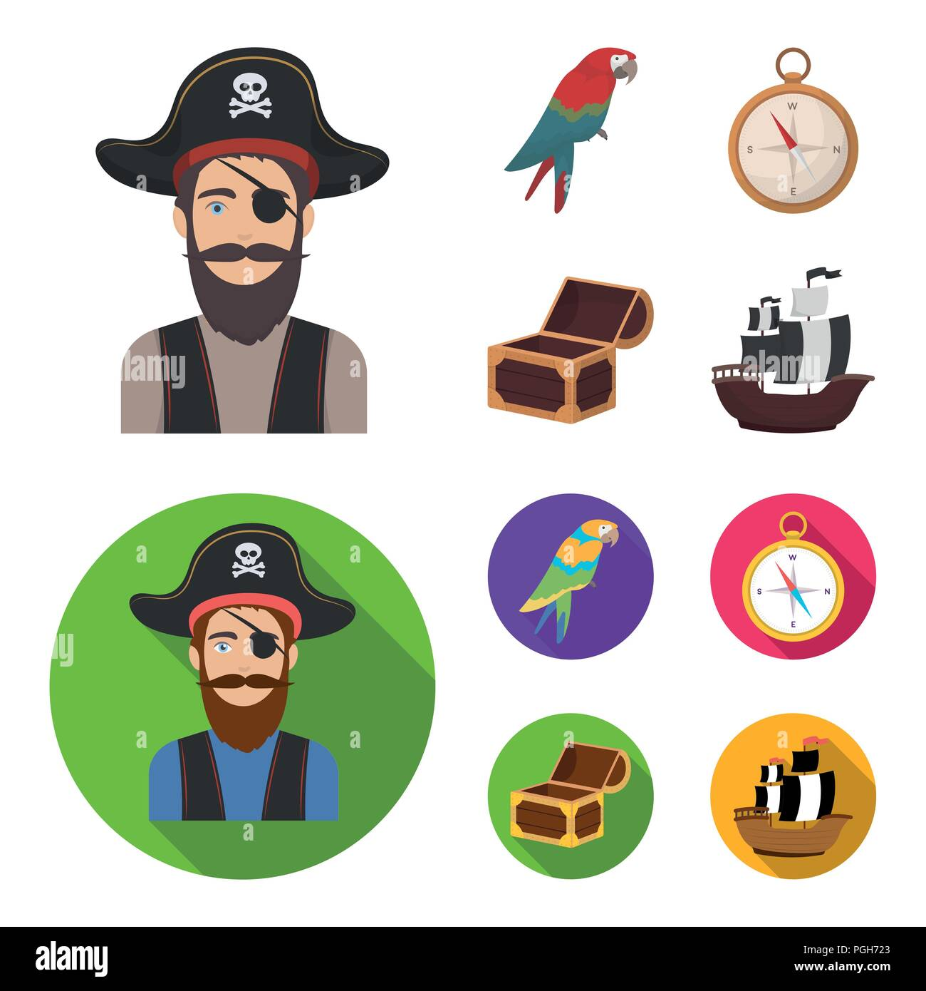 71051038 Pirate, bandit, hat, bandage .Pirates set collection icons in cartoon,flat  style vector symbol stock illustration .