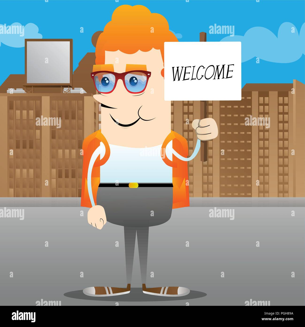 Schoolboy holding a banner with welcome text. Vector cartoon character illustration. - Stock Image