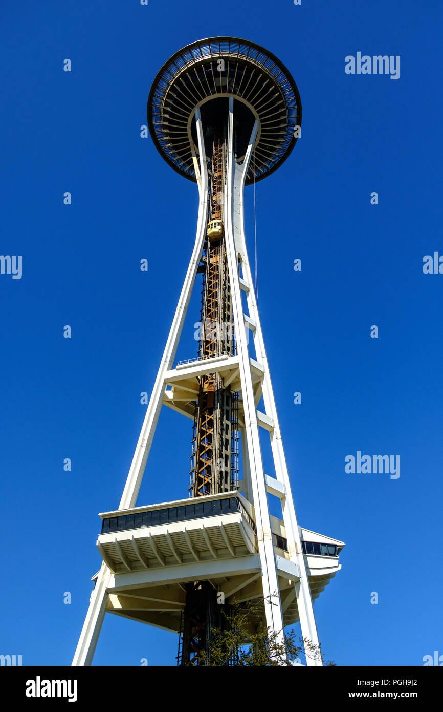 Space Needle, Seattle Center, Seattle, USA - Stock Image