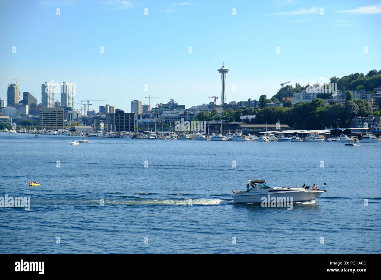 View across Lake Union to downtown Seattle, USA - Stock Image