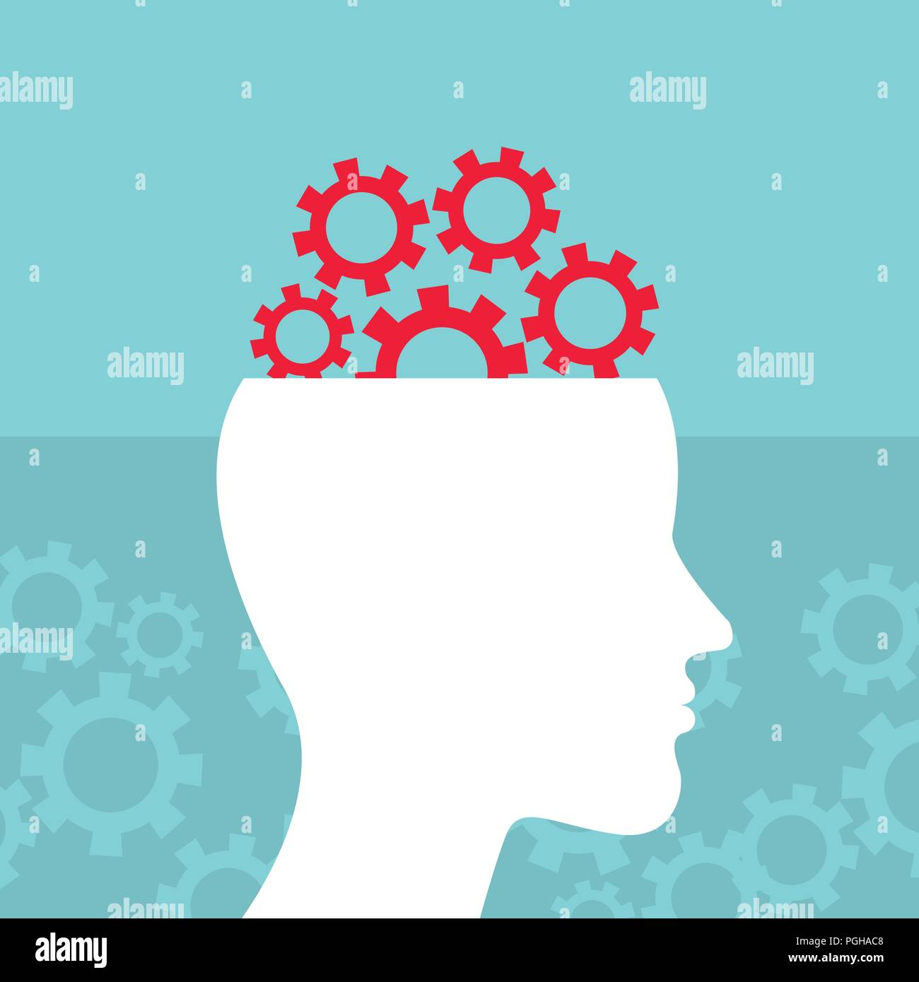 Head and brain work. Brain storming, successful idea concept - Stock Image