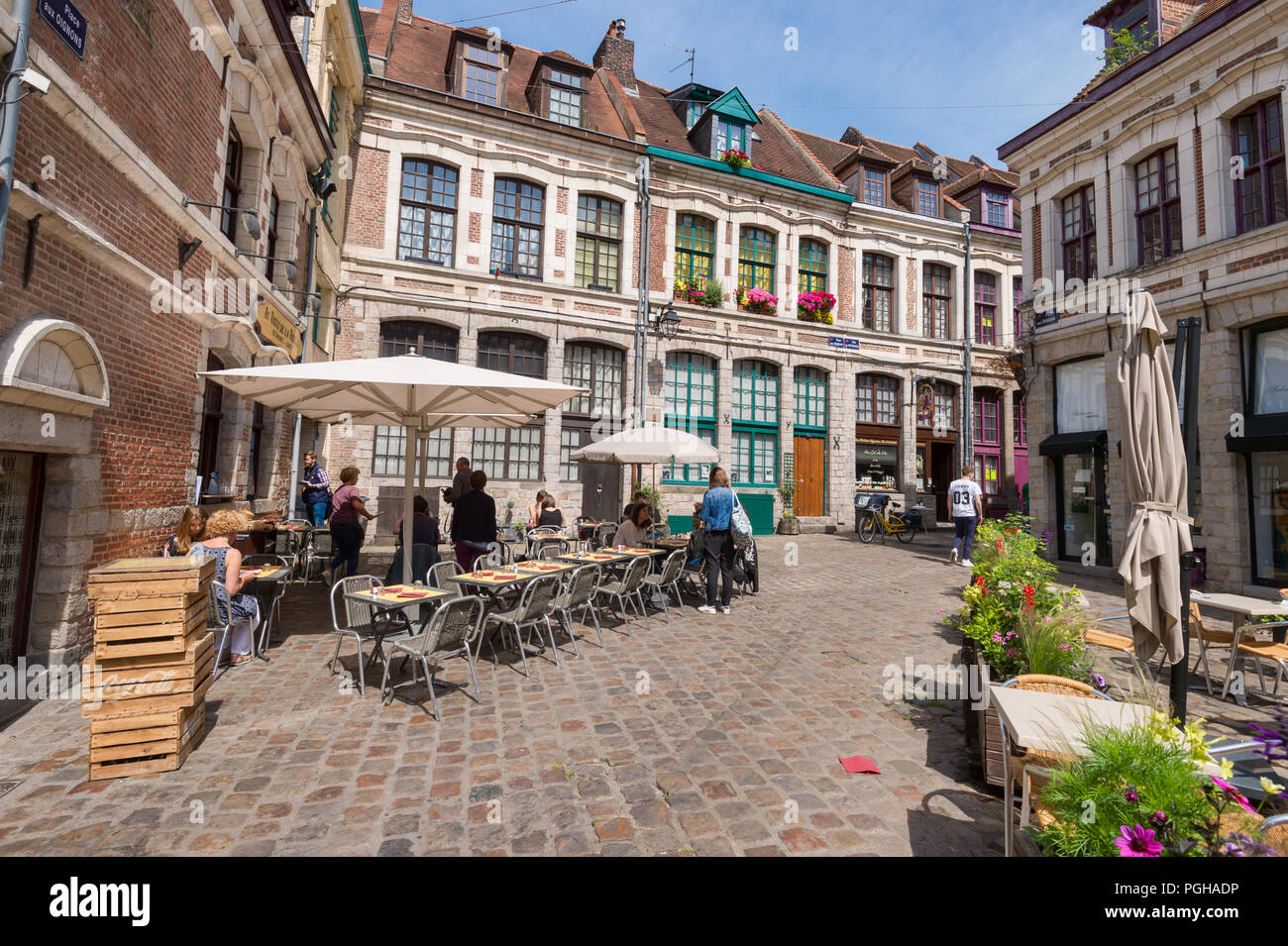 Lille, France - 15 June 2018: Paved square 'Place des oignons', located in the historical neighbourhood Vieux Lille - Stock Image