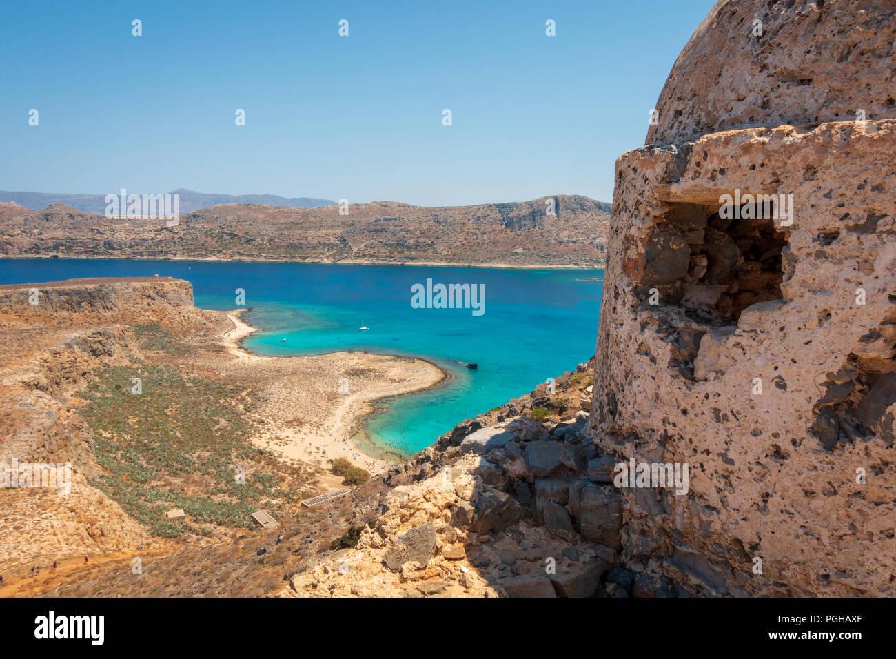 Venetian fortress on Gramvousa island overlooking western coast of Crete Stock Photo