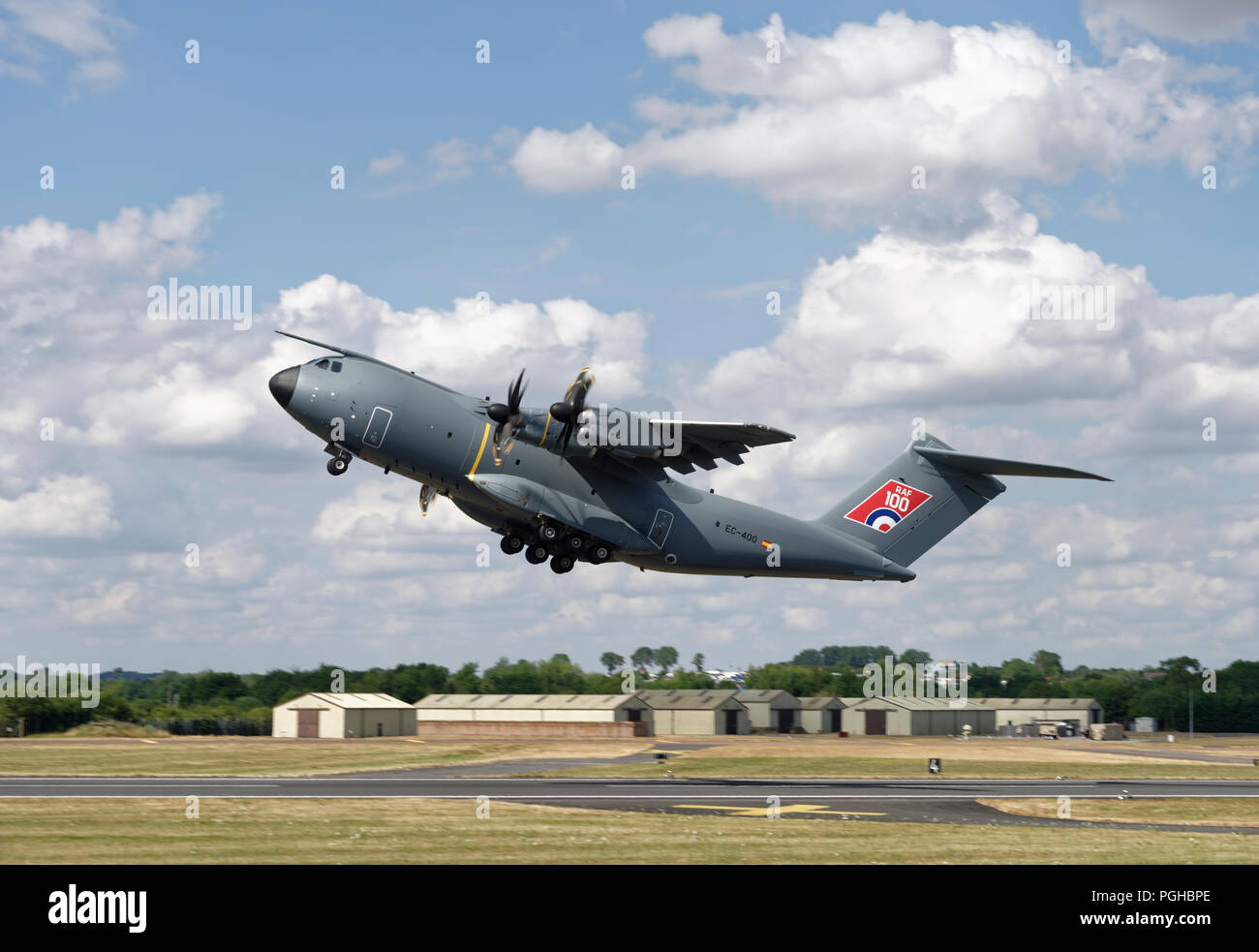 Airbus A400M Atlas Military Transport aircraft takes off to rehearse its display at the Royal International Air Tattoo Stock Photo