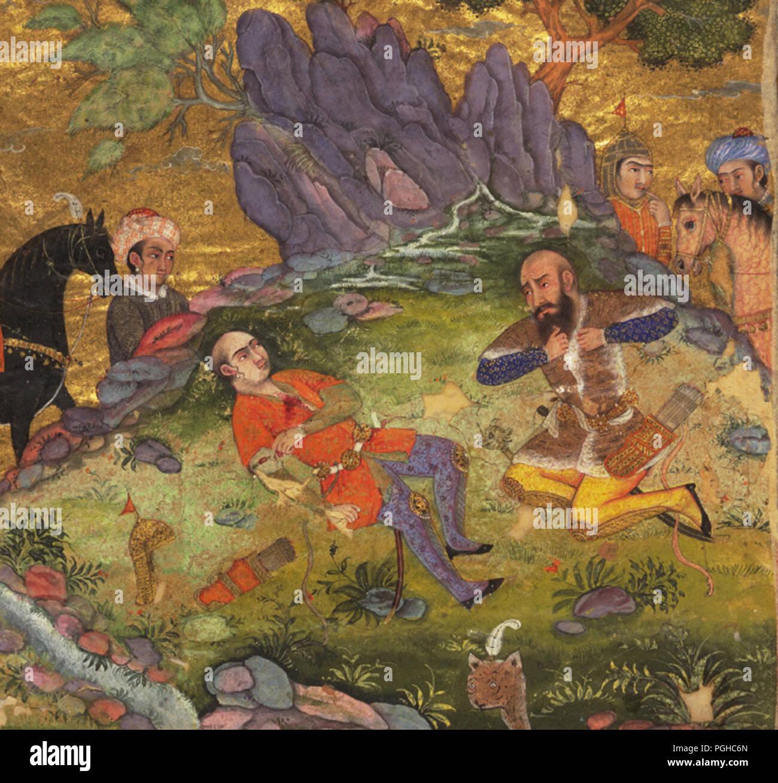 Rostam and Sohrab, Persian manuscript painting. Rustam laments for Suhrab, Persian Shahnama manuscript - Stock Image
