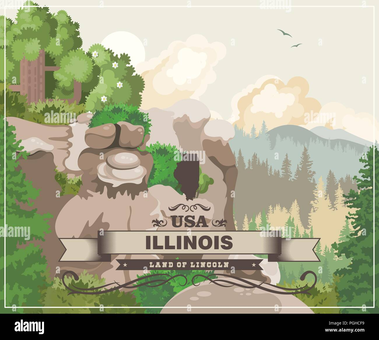 Illinois vector postcard. US state. United States of America. - Stock Vector