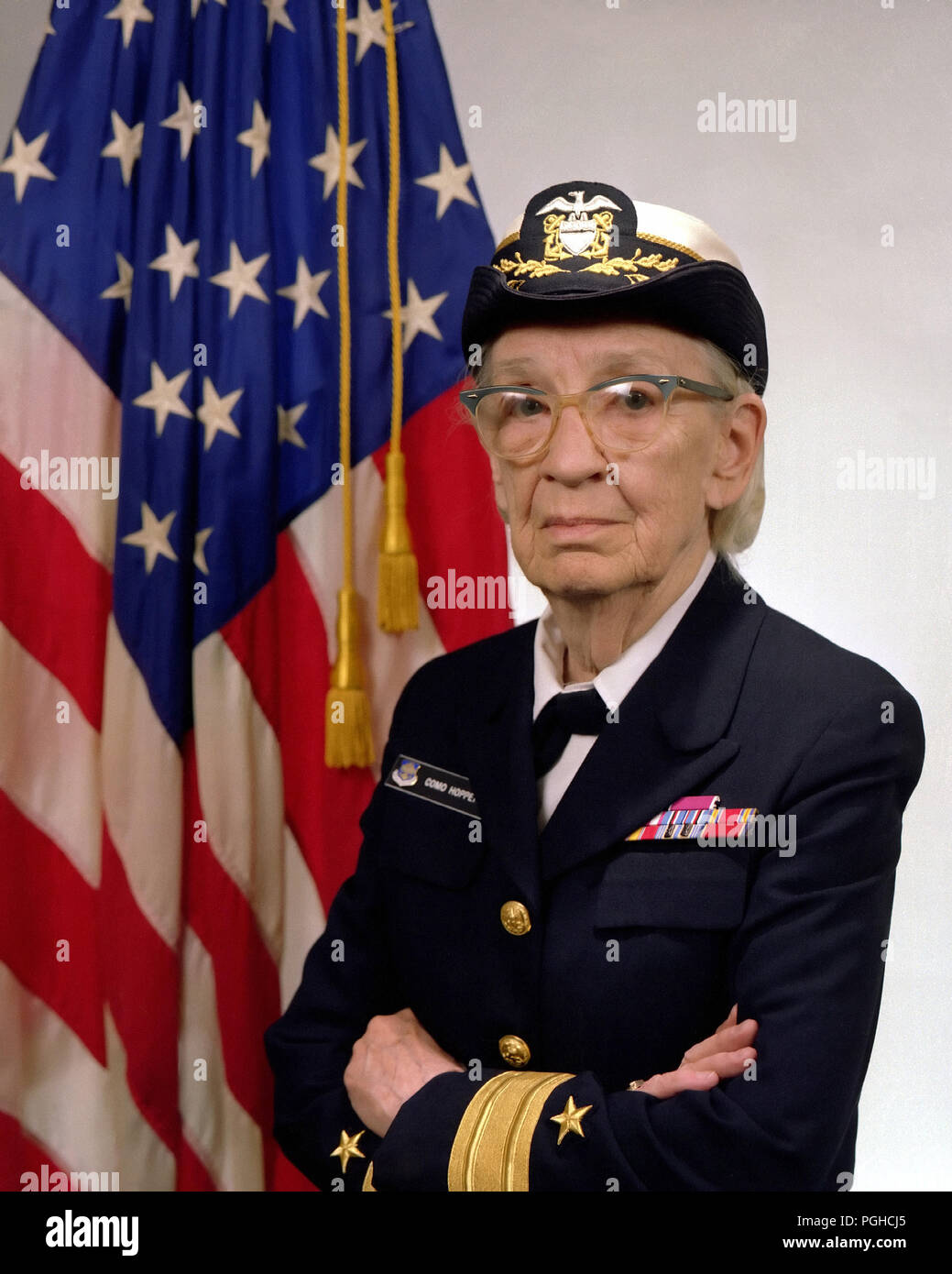 Commodore Grace M. Hopper, Grace Brewster Murray Hopper (1906 - 1992) American computer scientist and United States Navy rear admiral. One of the first programmers of the Harvard Mark I computer, - Stock Image