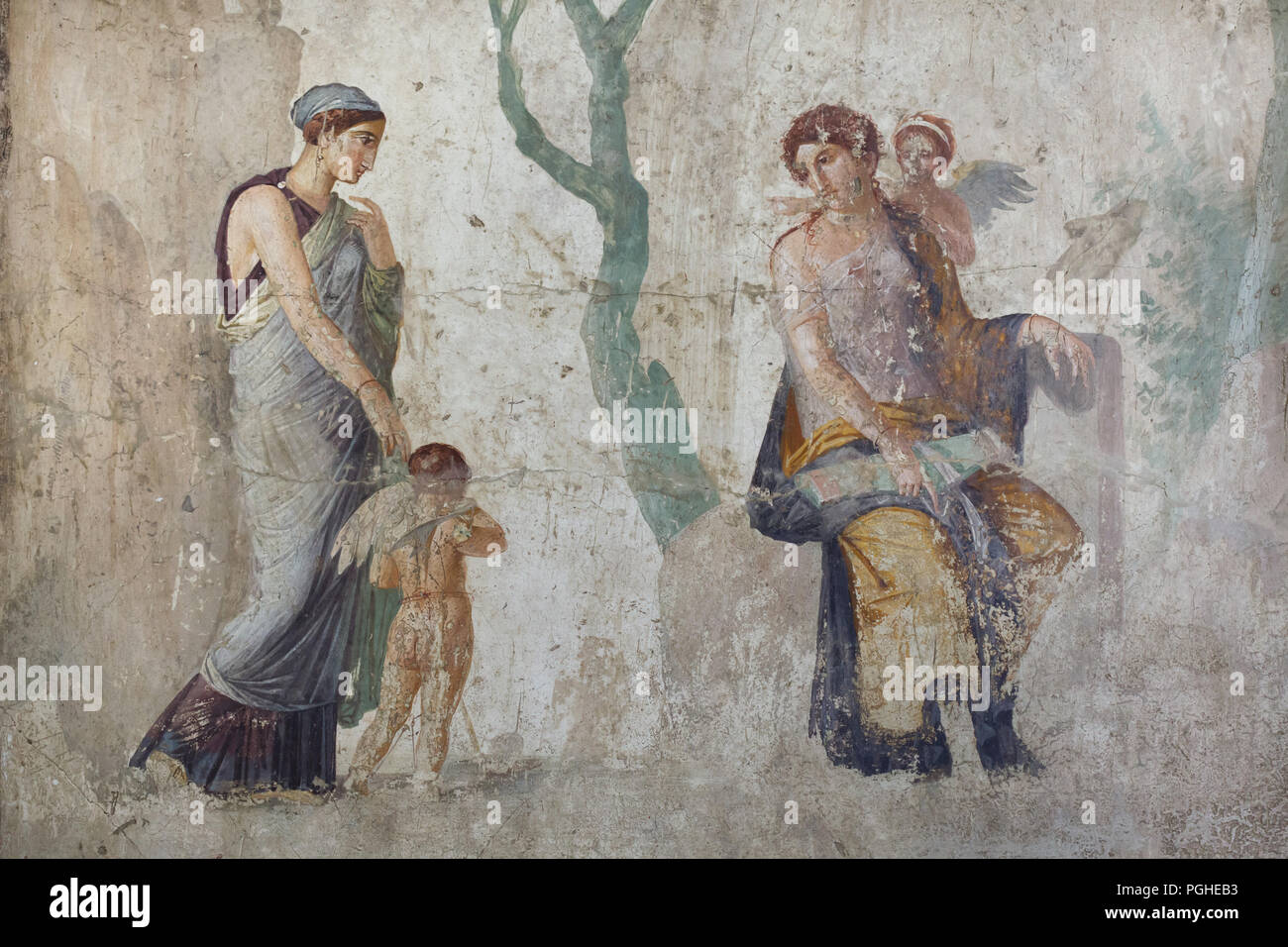 Peitho (left) taking Eros to Venus and Anteros. Roman fresco dated from circa 25 BC on display in the National Archaeological Museum (Museo Archeologico Nazionale di Napoli) in Naples, Campania, Italy. - Stock Image