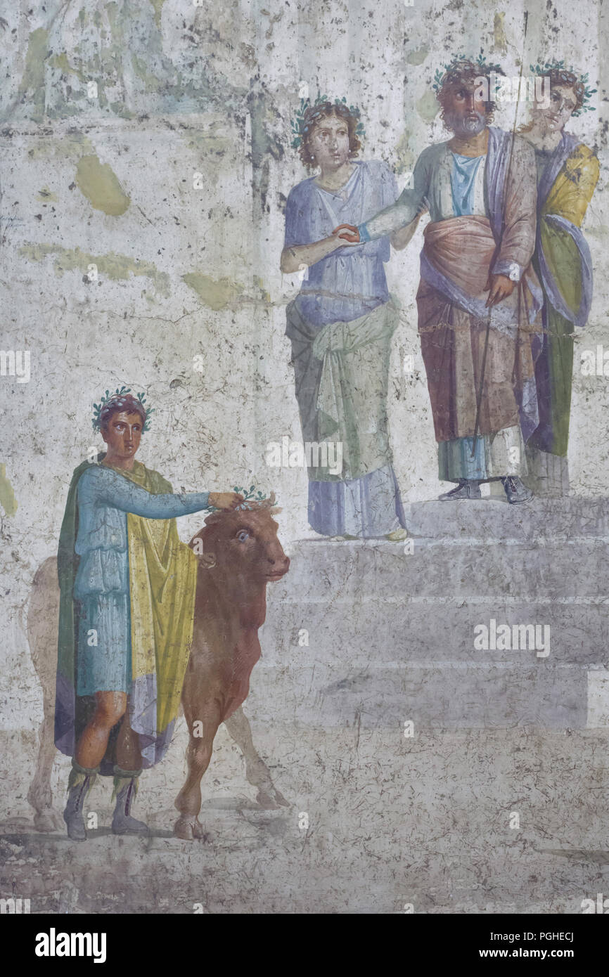King Pelias with his sons depicted in the Roman fresco from the House of Jason (Casa di Giasone) in Pompeii (20-25 AD), now on display in the National Archaeological Museum (Museo Archeologico Nazionale di Napoli) in Naples, Campania, Italy. King Pelias stops on the steps of a temple as he recognises young Jason, the hero who has just joined the royal household as the man, who, according to an oracle, will bring his reign to an end. For this reason King Peleas has stopped, terrified, on the steps of a temple near which, with the aid of his sons, he is in the act of sacrificing a bull. This is  - Stock Image