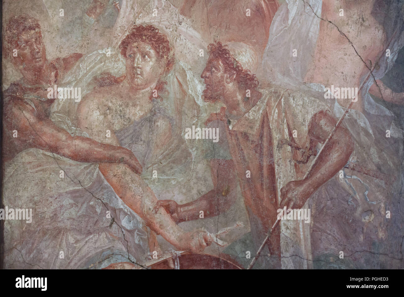 Achilles dressed as woman discovered by Odysseus and Diomedes at Scyros depicted in the Roman fresco from the House of the Dioscuri (Casa dei Dioscuri) in Pompeii (1-79 AD), now on display in the National Archaeological Museum (Museo Archeologico Nazionale di Napoli) in Naples, Campania, Italy. Stock Photo
