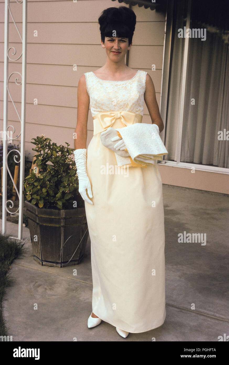 9013a4a255b8 Teenage Girl Going to a 1965 High School Prom, CA, USA - Stock Image