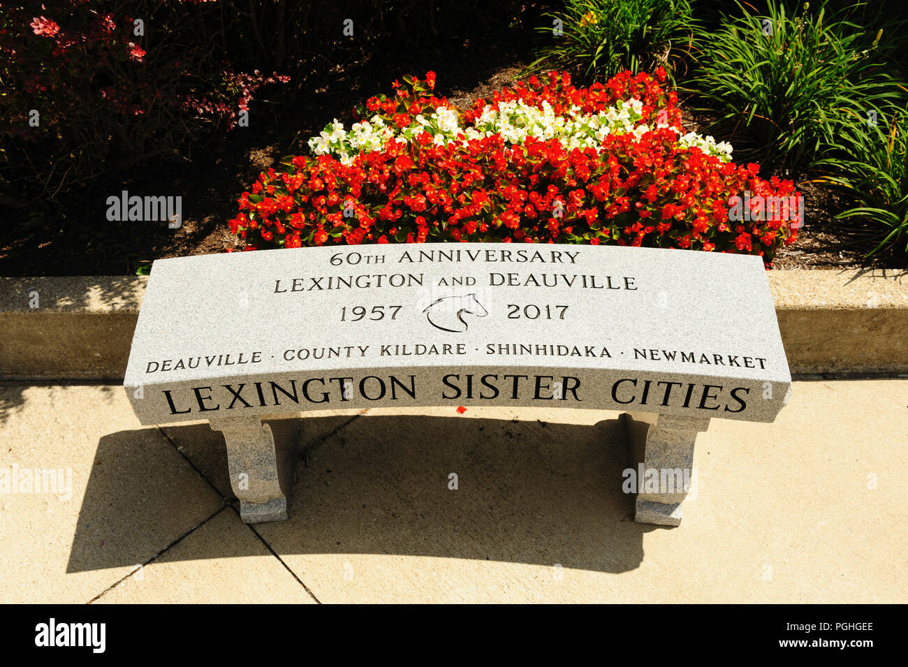 Lexington sister cities with Deauville, County Kildare, Shinhidaka, and Newmarket - Stock Image