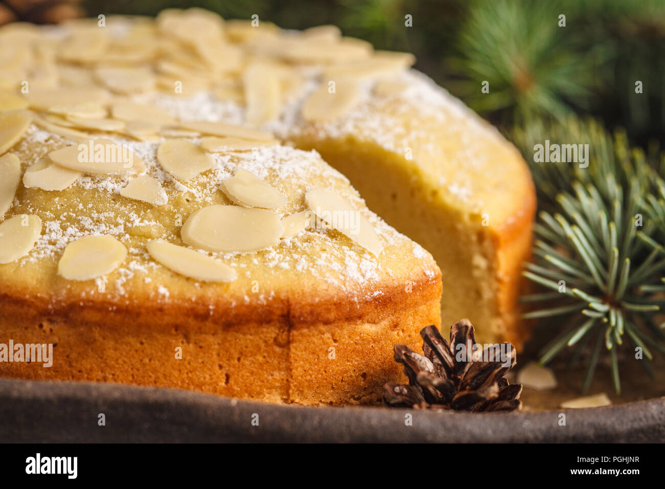 traditional christmas norwegian almond cake in christmas decorations dark background christmas dessert concept - Christmas Dessert Decorations