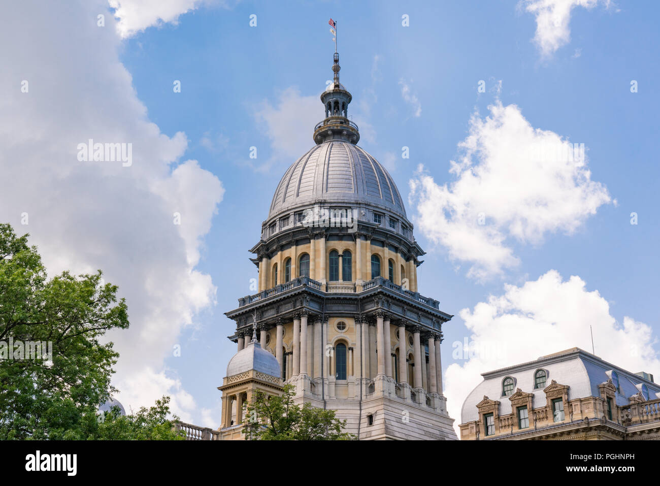 Dome of the Illinois State Capital Building in Springfield, Illinois - Stock Image