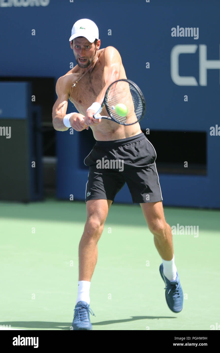 13-time Grand Slam champion Novak Djokovic of Serbia practices for the 2018 US Open at Billie Jean King National Tennis - Stock Image